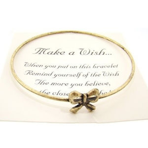 Jewelry - Make a Wish Antiqued Finish Bracelet - (Bow)